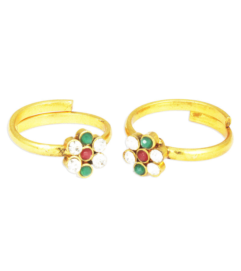 Karatcart 22k Gold Plated Red and Green Toe Ring Set  by Karatcart