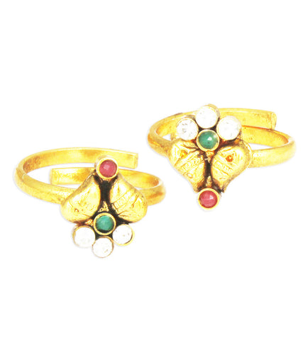 Karatcart 22k Gold Plated Red and Green Toe Ring Set