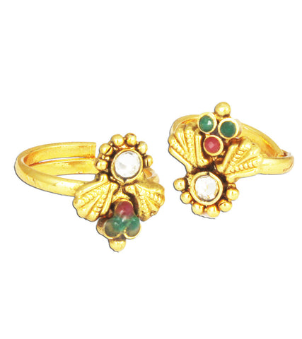 Karatcart 22k Gold Plated Red and Green Toe Ring Set For Women