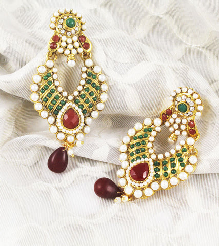 Ahilya Red and Green Dangle Earrings
