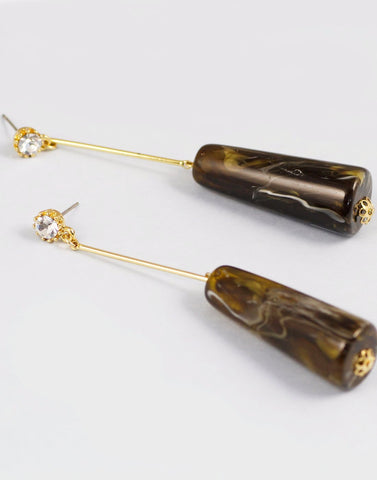 Metal Gold Long Stone Drop Earrings