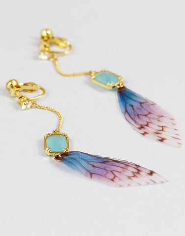 Gold Metal Crystal Feather Drop Earring For Women