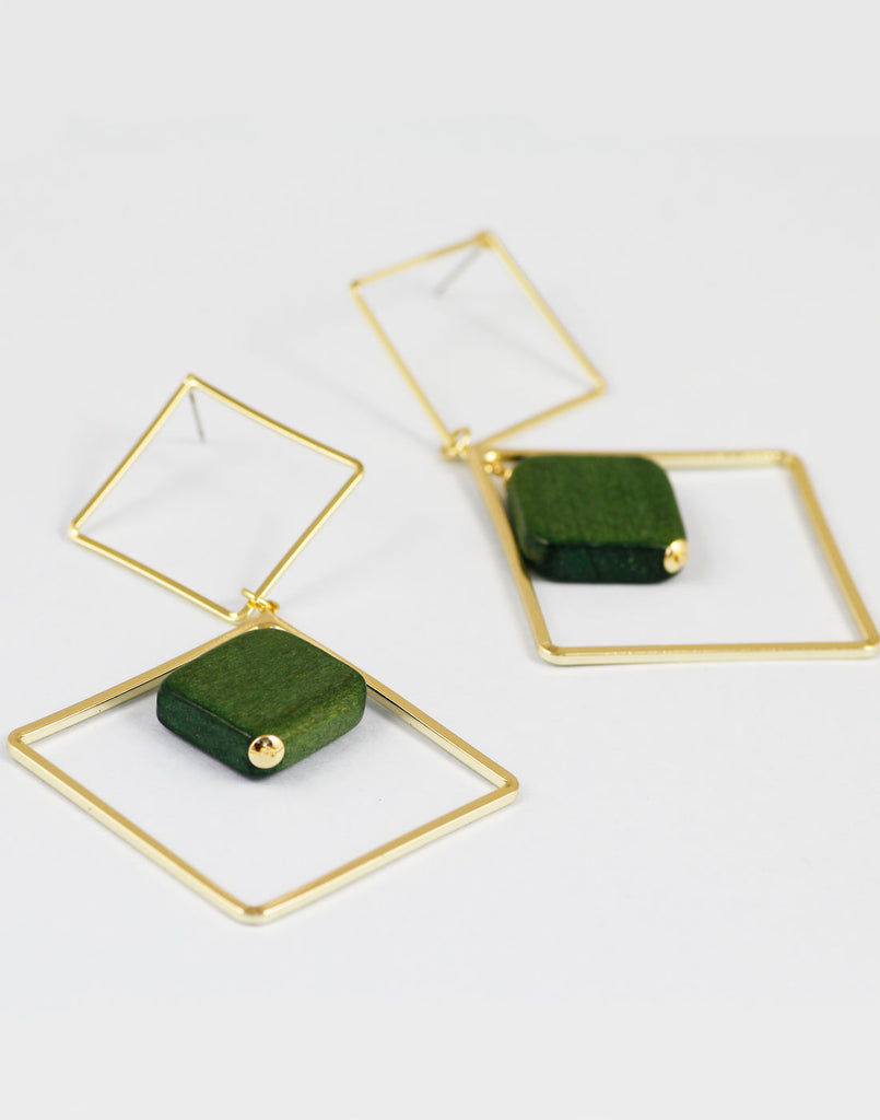 Gold Metal Mate Green Geometrical Earrings