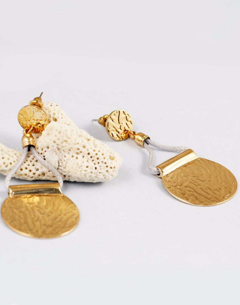 Gold Texture Metal Earrings