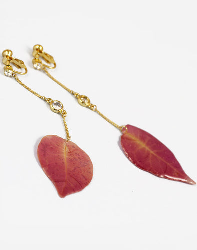 Metal Gold Pink synthetic Leaf Drop Earrings