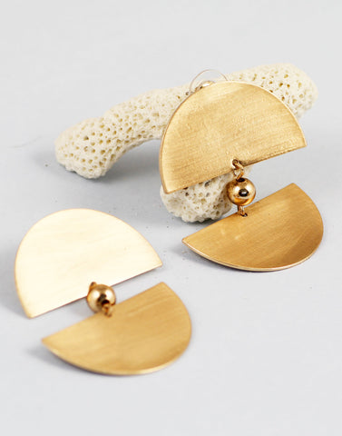 Semi Circular Textured Metal Plate Earrings