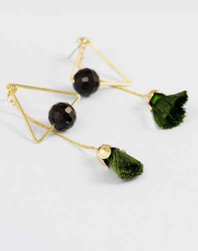 Metal Gold Geometrical Earrings adorned with green thread tassels