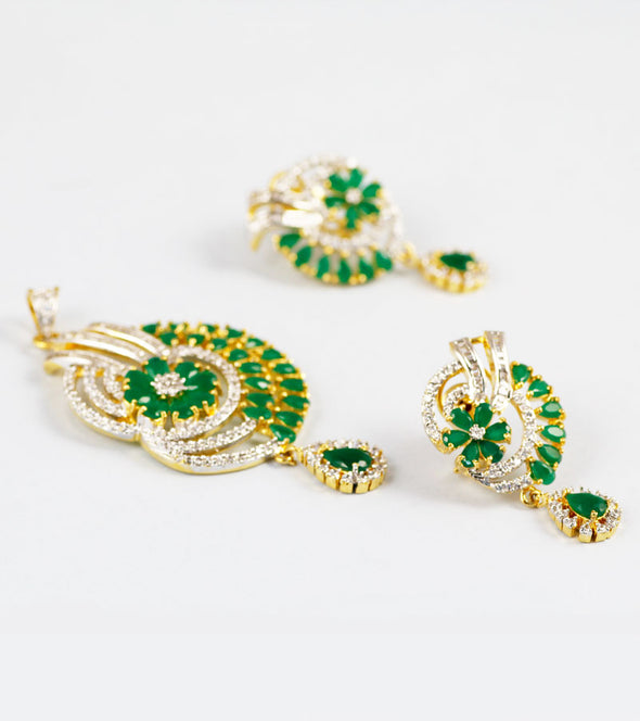 Ananya Green Stone And American Diamond Pendant Set