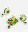 Ananya Green Stone And American Diamond Pendant Set by karatcart