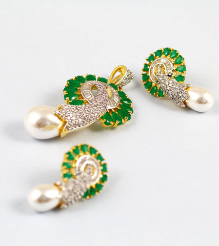 Elephant Trunk green stone and American Diamond Earrings