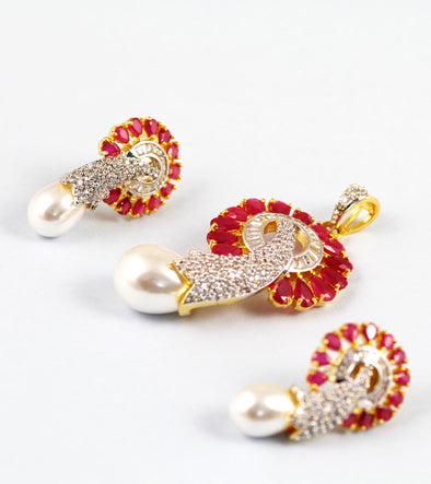 Gold Plated Red Stone And American Diamond with White Pearl Pendant Set