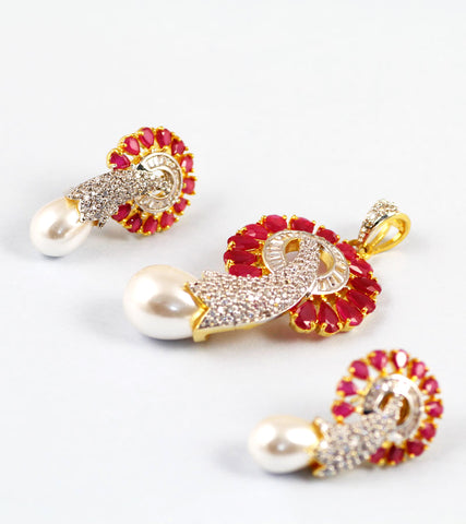 Elephant Trunk Red stone and American Diamond Earrings