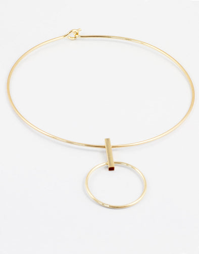 Gold Metal Geometrical Choker Necklace