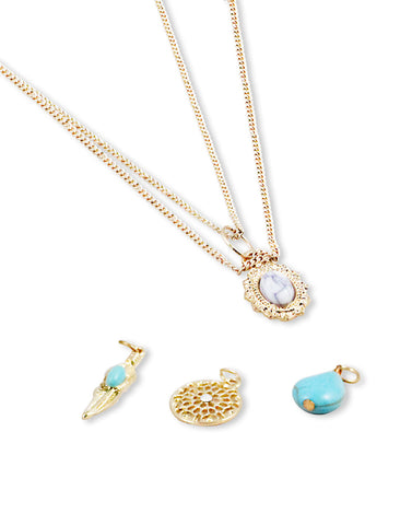 Gold Metal Changeable Pendants Chain Necklace