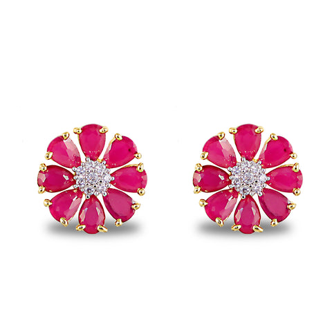 Red Floweret American Diamonds Stud Earrings