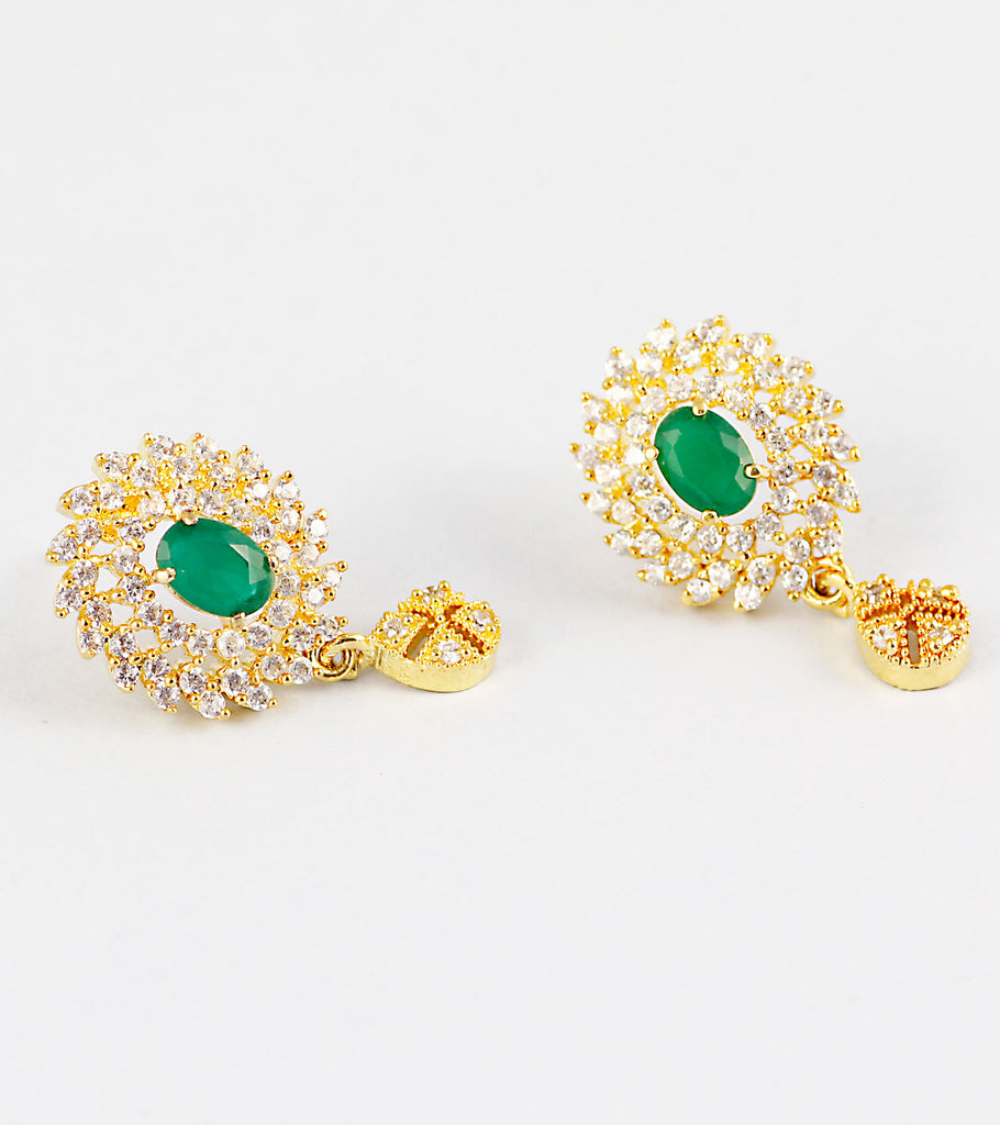 Green CZ Studded Earrings