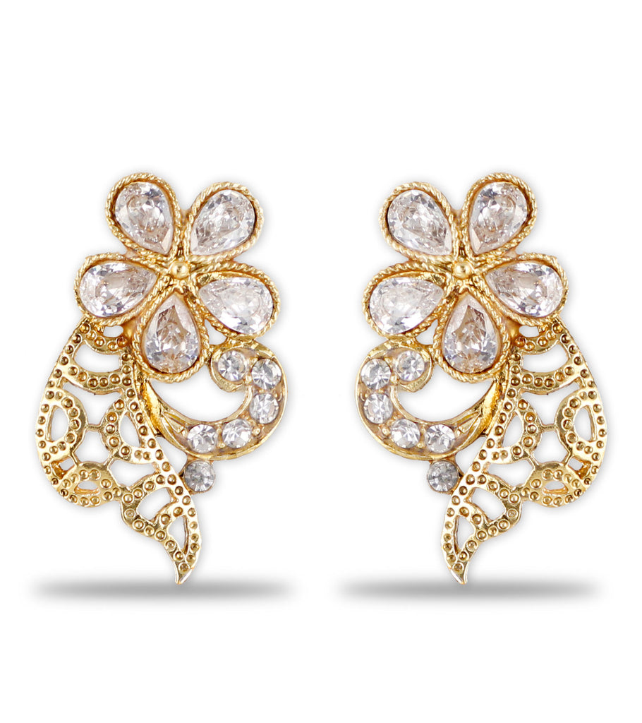karatcart mg studded sunehra earrings filigree collections flower jaali d work com products saga