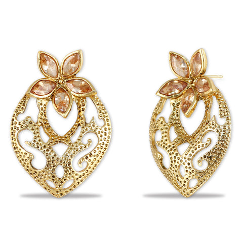 Studded Flower Filigree Jaali Work Earrings