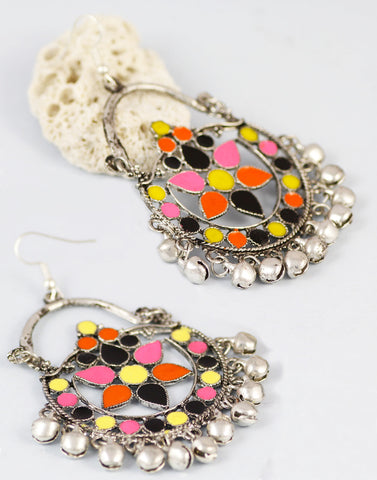 Multi-Colour Antique Oxidized Metal Afgani Tribal Earrings