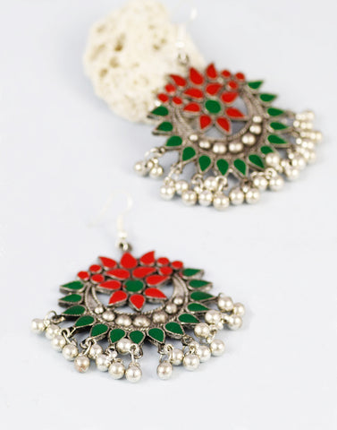 Red and Green Antique Oxidized Metal Afgani Tribal Earrings