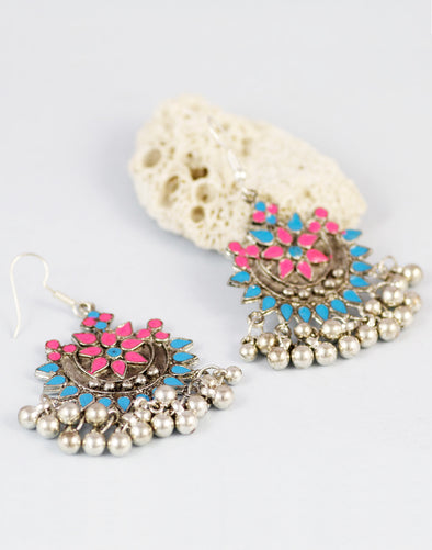 Multi-Colour Antique Oxidized Afgani Tribal Earrings