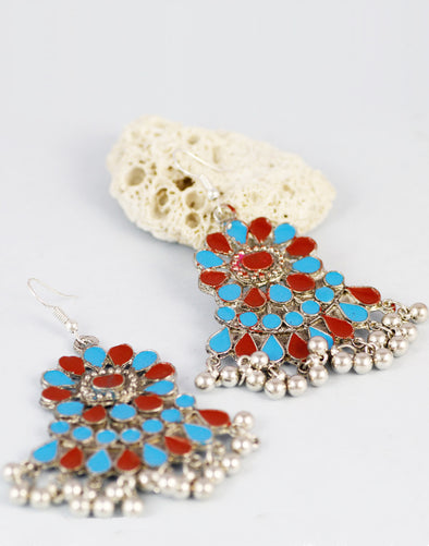 Multi-Colour Antique Oxidized Afghani Tribal Earrings