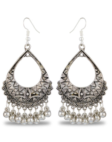 Antique Oxidized Metal Afgani Tribal Earrings