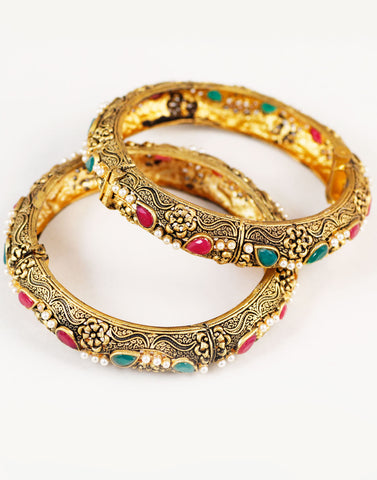 Intricate carving Red and Green Stone Bangles
