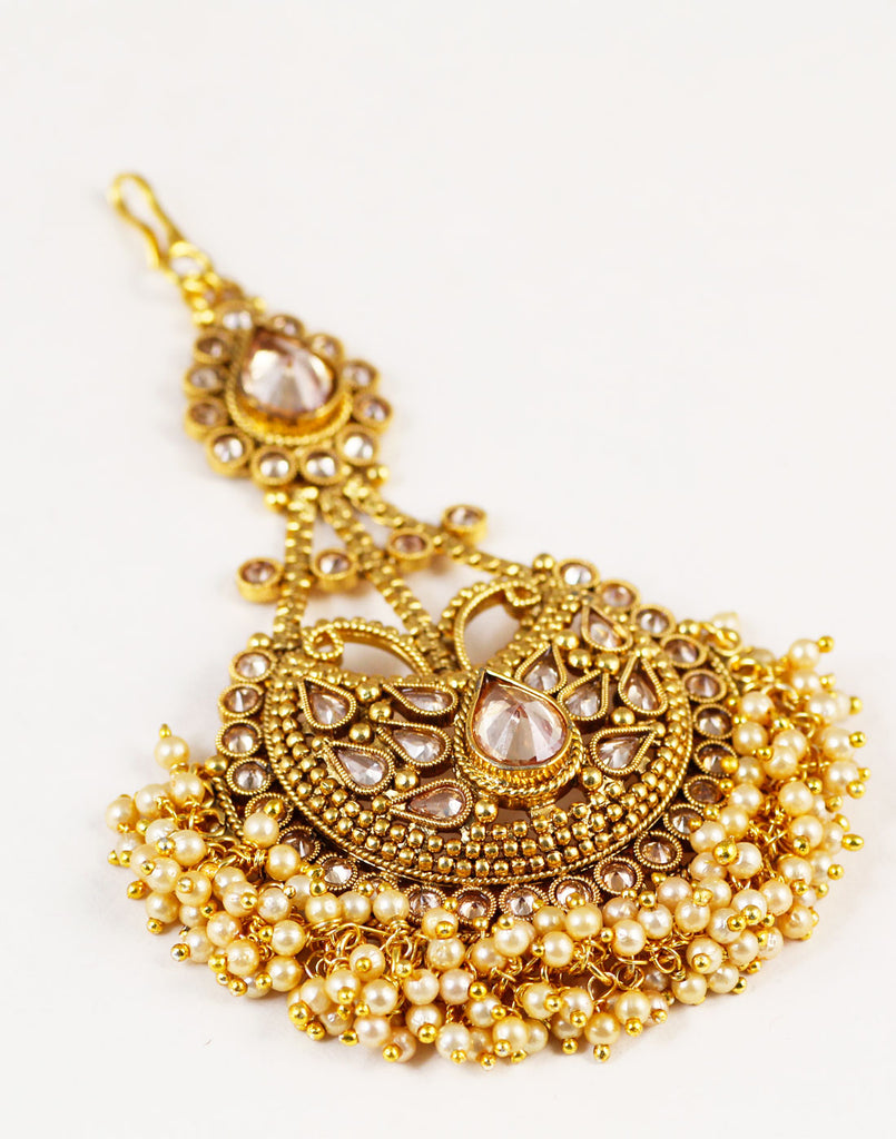 Sparkling Stone Studded Passa With Pearl Beads For Women