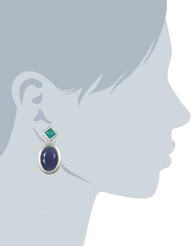 Navy Blue and Green Stone Dangle Earrings