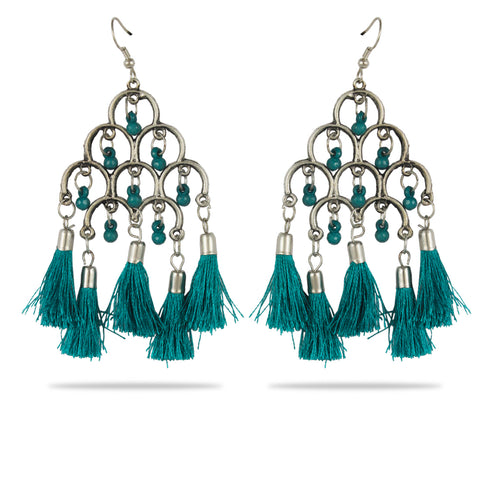 Karatcart Afghani Tribal Green Tassel Earrings Stylish Fancy Party Wear Light Weight Dangler Earrings For Women