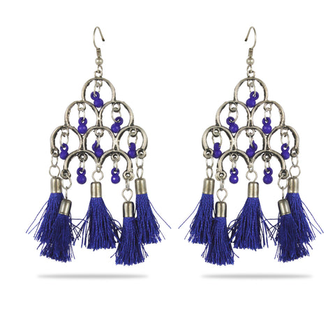 Karatcart Afghani Tribal Blue Tassel Earrings Stylish Fancy Party Wear Light Weight Dangler Earrings For Women