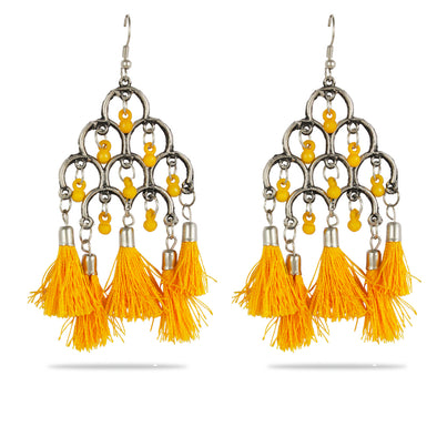 Karatcart Afghani Tribal yellow Tassel Earrings Stylish Fancy Party Wear Light Weight Dangler Earrings For Women