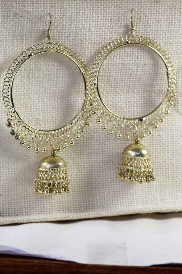 Golden Oxidised Hoop Jhumki Drop Earrings