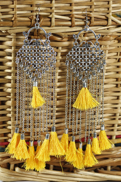 Tribal Oxidised Yellow Tassel Earrings
