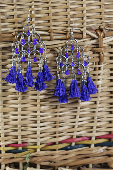 Karatcart Afghani Tribal Blue Tassel Earrings