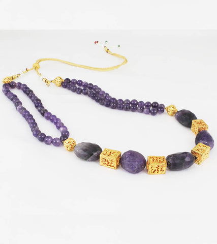 24k GoldPlated Purple stone Necklace For Women