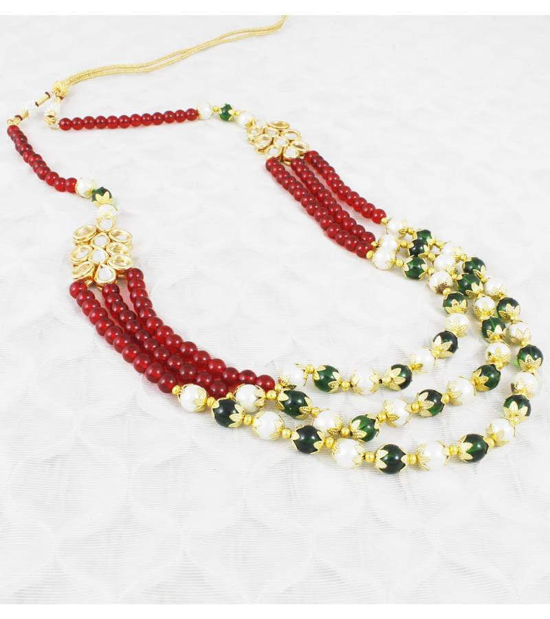 Rooh Multicolour Beads and Kundan Necklace Set