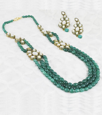 24K GoldPlated Traditional Green Stone Kundan Necklace Set Women