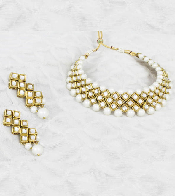Royal Kundan White Pearl Necklace Set