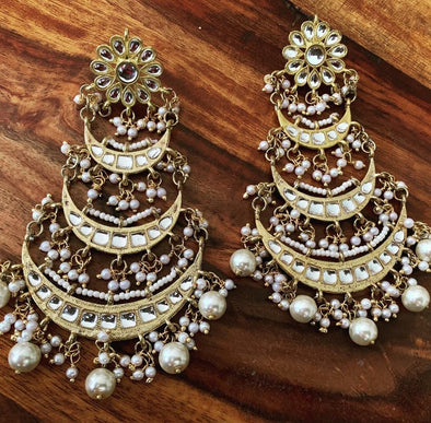 Kundan Layered Tassel Dangler Earrings with Pearl Drops