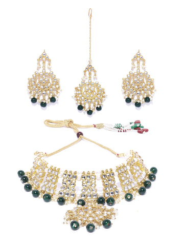 Kunuz Kundan Choker Green Necklace with Earrings and Mangtikka
