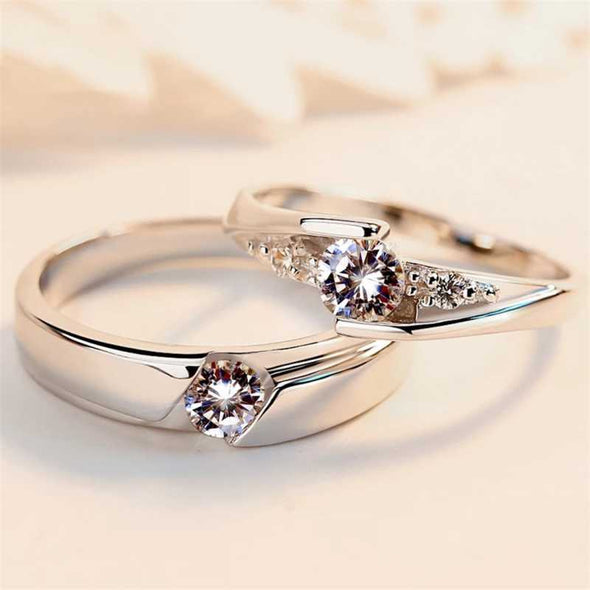 Karatcart Platinum Plated Elegant Couple Adjustable Solitare Ring