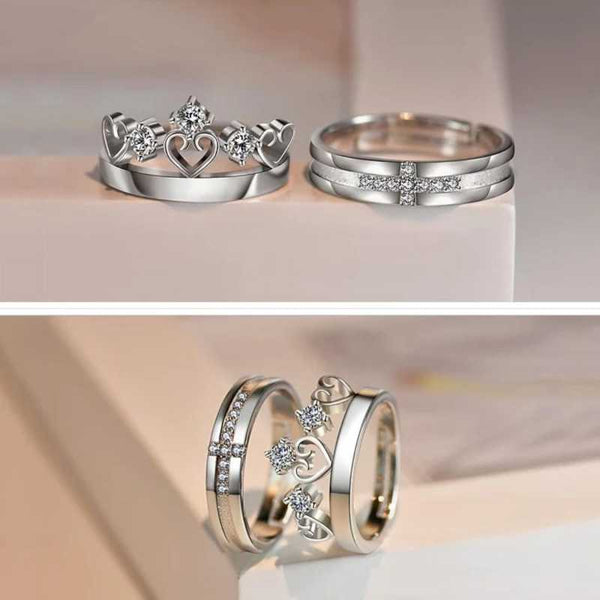 Platinum Plated Elegant King and Queen Couple Adjustable Band Ring