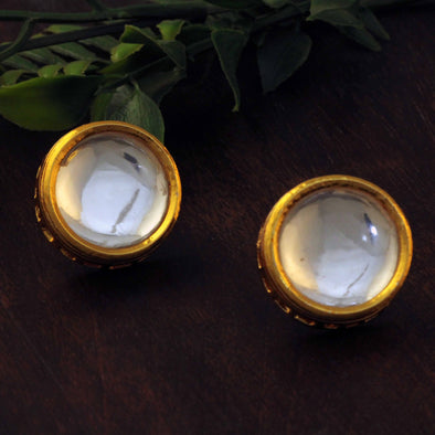 Traditional Gold Plated Polki Kundan Stud Earrings