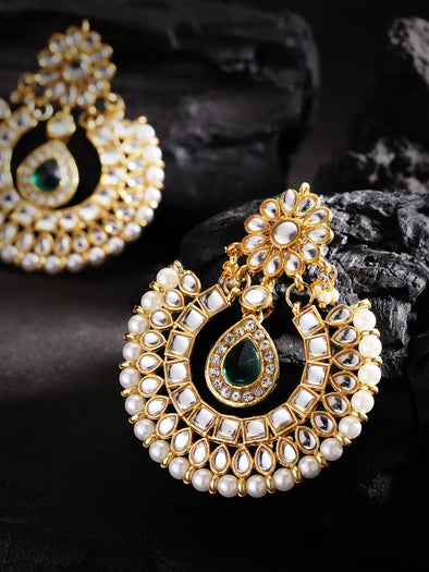 Kundan Green Stone Chandbali Earrings