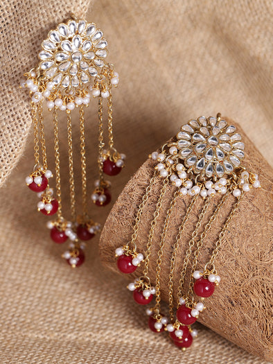 Kundan Maroon Tassel Earrings