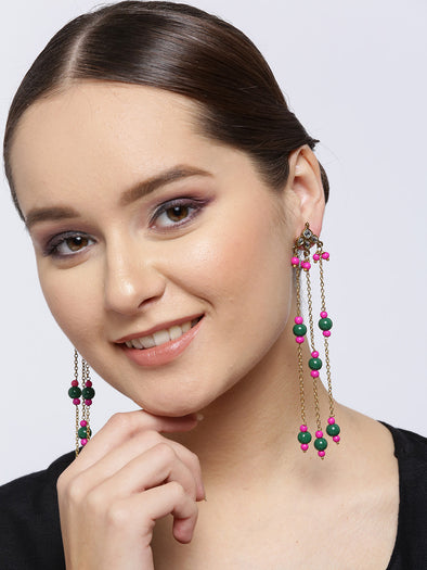Pink and Green Tassel Kundan Earrings