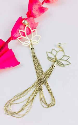 Lotus Filigree Chain Earrings