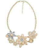 Karatcart Assorted Flowers Peach Zinc Statement Necklace For Women